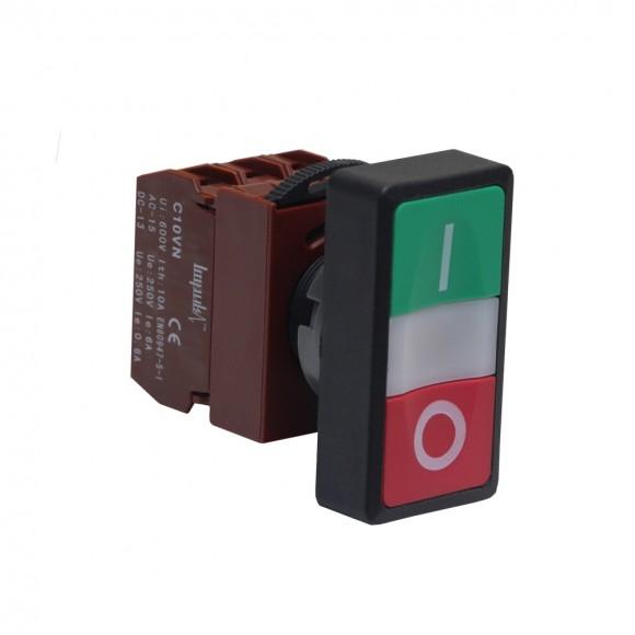 C2PID 1A+1B 220V  Кнопка без фиксации потай с подсветкой