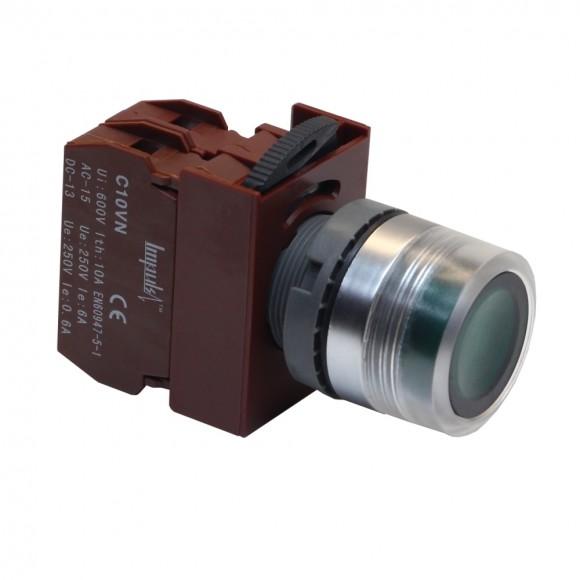 C2PIF G 1A 220V  Кнопка без фиксации потай с подсветкой