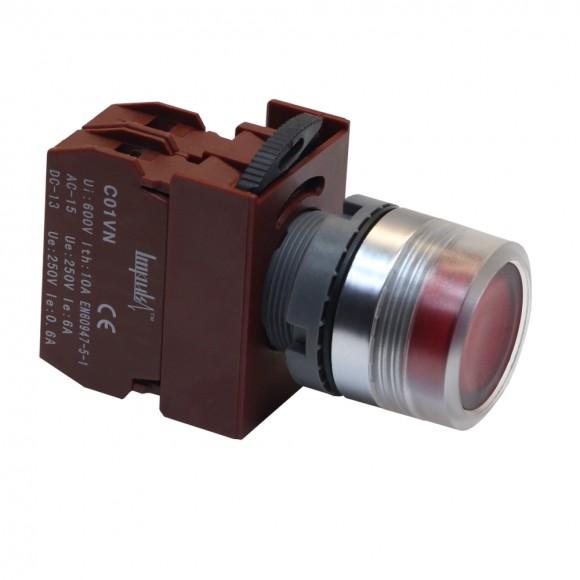 C2PIF R 1B 220V  Кнопка без фиксации потай с подсветкой