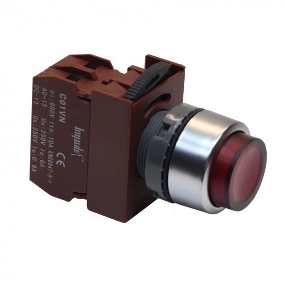 C2PIH R 1B 220V   Кнопка без фиксации выступающая с подсветкой