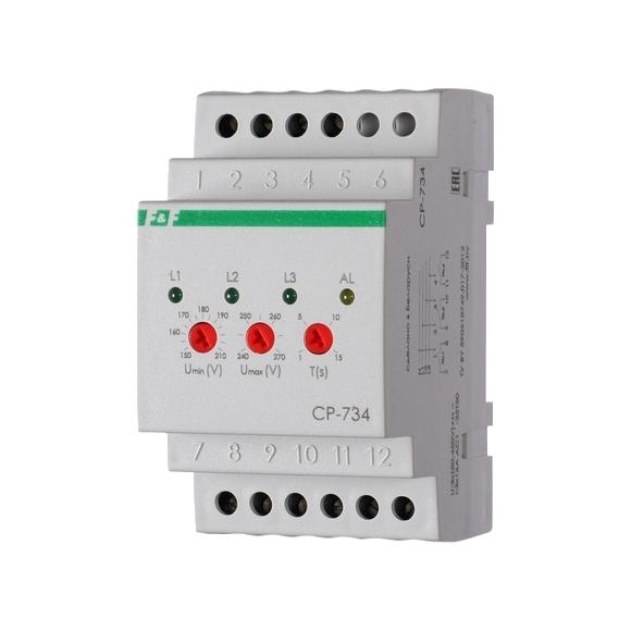 Реле контроля напряжения 3-фазное CP-734 на Din-рейку