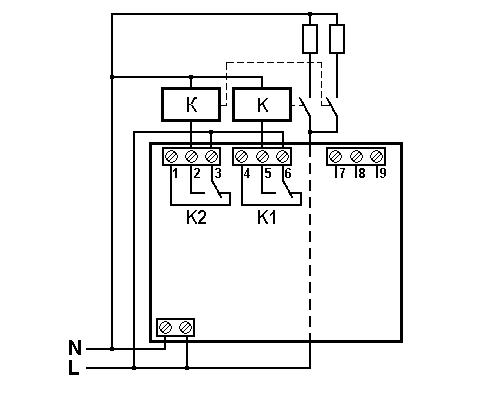 Однофазный ограничитель мощности OM-1-2 на Din-рейку. Схема подключения