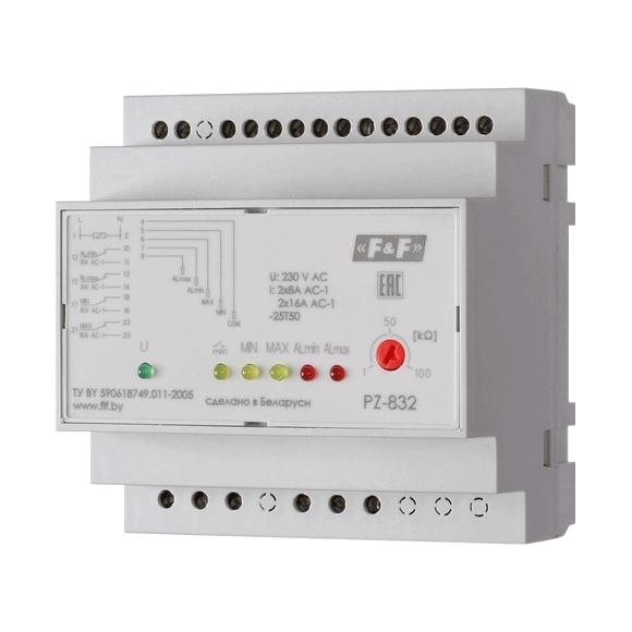 Реле контроля уровня жидкости PZ-832 на Din-рейку
