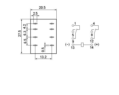 Промежуточное реле MY2-NS 24V DC. Схема подключения