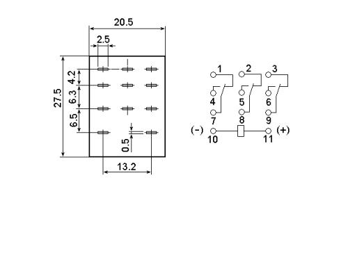 Промежуточное реле MY3-NS 220V AC. Схема подключения