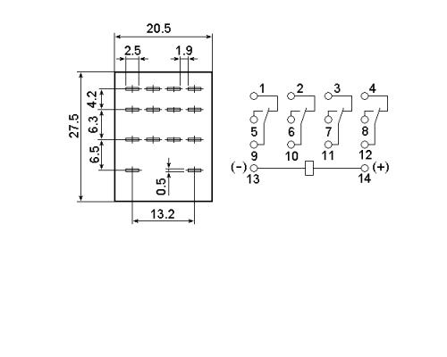 Промежуточное реле MY4-NS 24V DC. Схема подключения