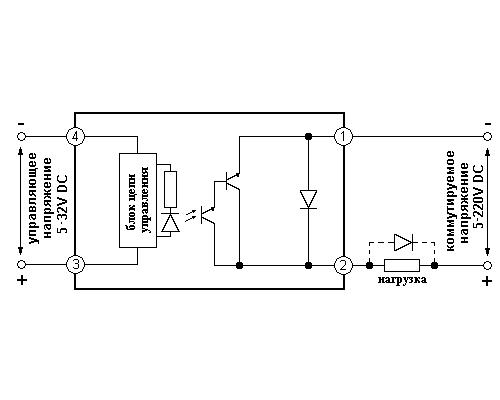 Твердотельное реле GDH2523DD3. Схема подключения