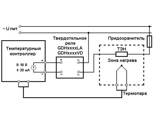 Твердотельное реле GDH1038LA. Схема подключения