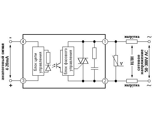 Твердотельное реле GDH6038LA. Схема подключения