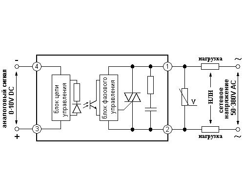 Твердотельное реле GDH2538VD. Схема подключения