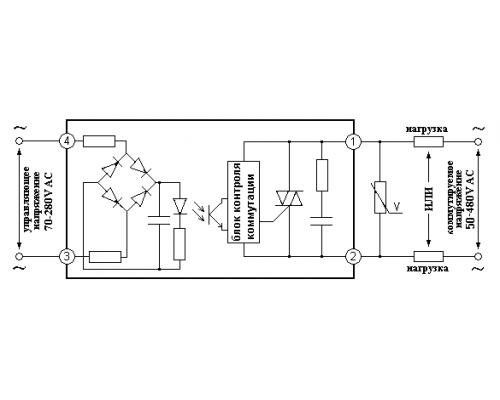 Твердотельное реле GDM15048ZA2. Схема подключения