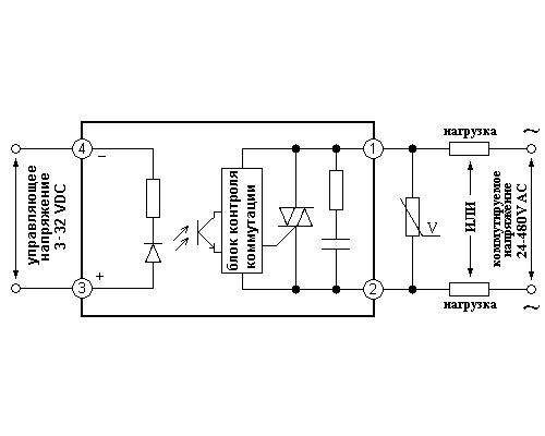 Твердотельные реле GDM20048ZD3. Схема подключения