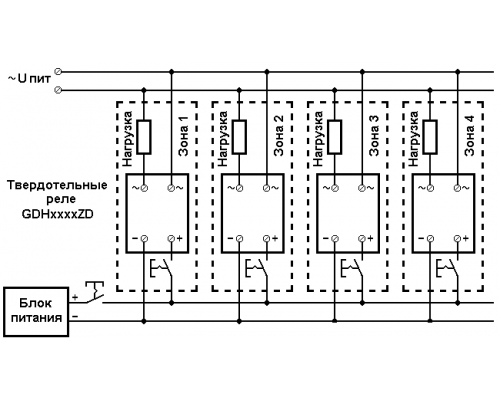 Твердотельные реле GDS4048ZD3. Схема подключения