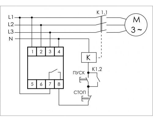 Реле контроля напряжения 3-фазное CKF-B на Din-рейку. Схема подключения