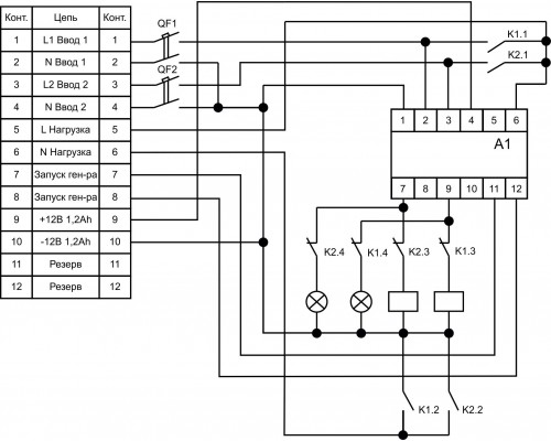 ШУН-1-2 (однофазный АВР на базе PF-441). Схема подключения