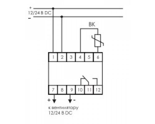 Регулятор температуры  RT-833 на Din-рейку с датчиком. Схема подключения