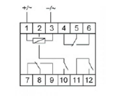 Промежуточное реле PK-4PZ. Схема подключения