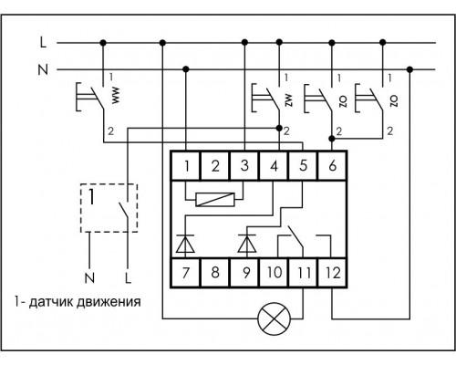 Реле импульсное (лестничный автомат) BIS-412-T. Схема подключения