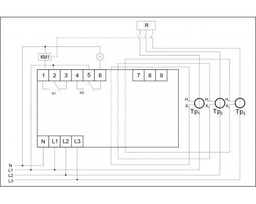Трехфазный ограничитель мощности OM-630-2 на Din-рейку. Схема подключения