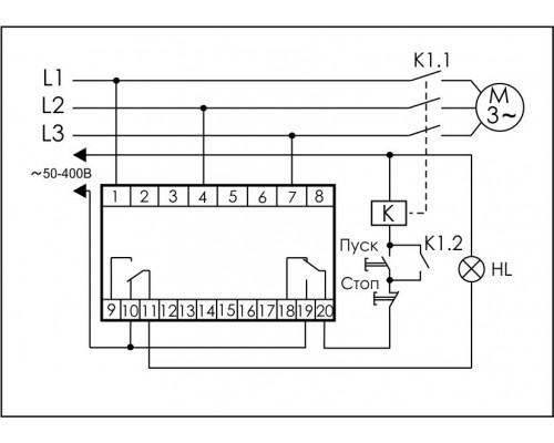 Реле контроля напряжения 3-фазное CKF-345 на Din-рейку. Схема подключения