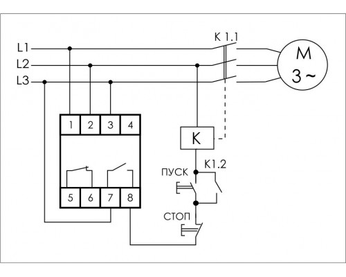 Реле контроля напряжения 3-фазное CZF-13 на Din-рейку. Схема подключения