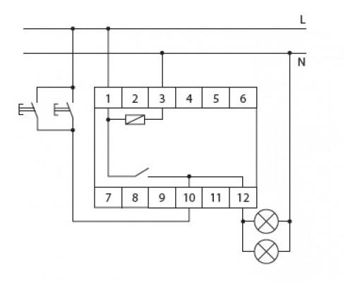 Автомат лестничный AS-212 на Din-рейку. Схема подключения