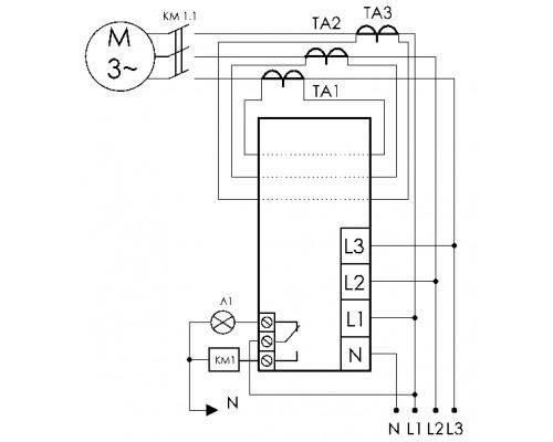 Реле защиты электродвигателей AZD на Din-рейку. Схема подключения