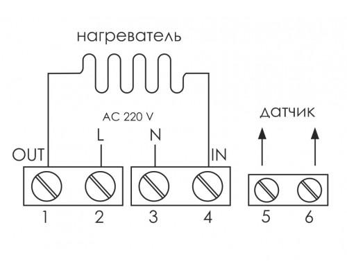 Регулятор температуры  RT-825 в подрозетник. Схема подключения