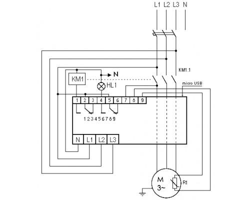Реле защиты электродвигателей AZD-M на Din-рейку. Схема подключения