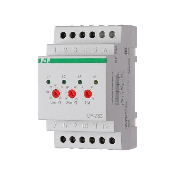 Реле контроля напряжения 3-фазное CP-733 на Din-рейку