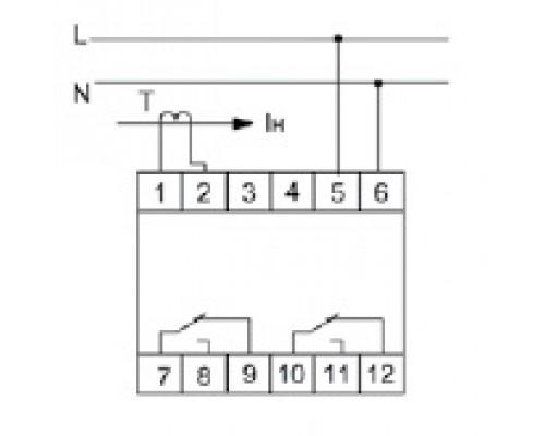 Реле контроля тока EPP-620 на Din-рейку. Схема подключения