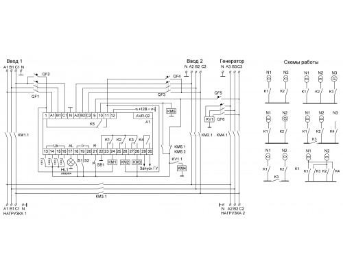 Устройство управления резервным питанием AVR-02 на Din-рейку. Схема подключения