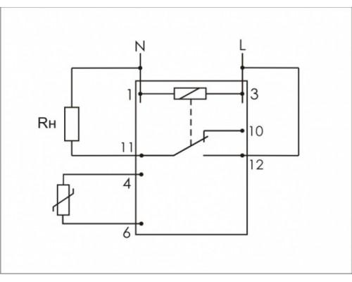 Регулятор температуры  RT-821-1 на Din-рейку с датчиком. Схема подключения