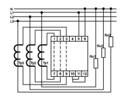 Индикатор тока 3-фазный WT-3-T на Din-рейку. Схема подключения