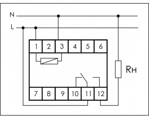 Реле времени  PCA-512 на Din-рейку. Схема подключения