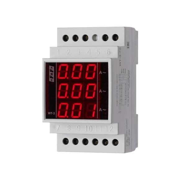 Индикатор тока 3-фазный WT-3 на Din-рейку