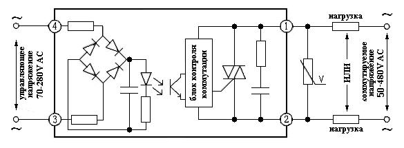 Схема подключения реле в корпусе промышленного исполнения