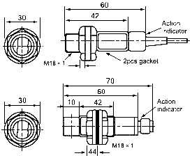 Оптические датчики (фотодатчики) серии G18. Размеры